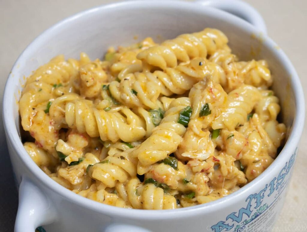 Crawfish monica in a bowl