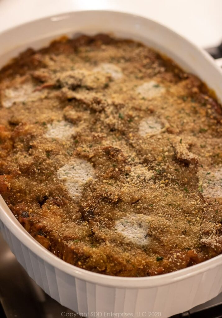 eggplant casserole in a baking dish right out of the oven