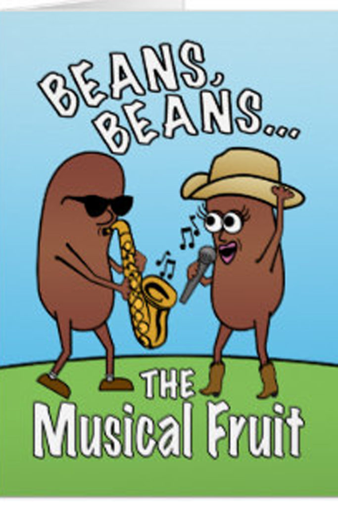 cartoon of beans playing music