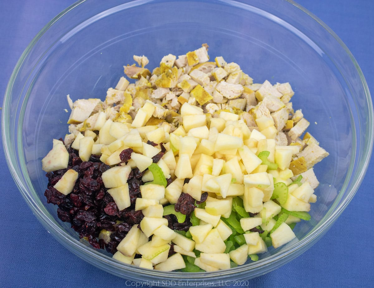 chopped apples and clery and dried cranberries with diced chicken in a clear bowl