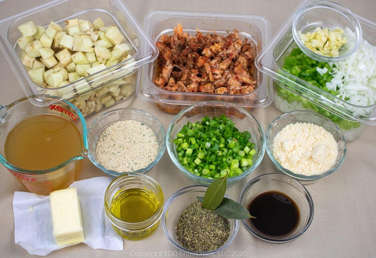 prepared ingredients for crawfish eggplant rollatini