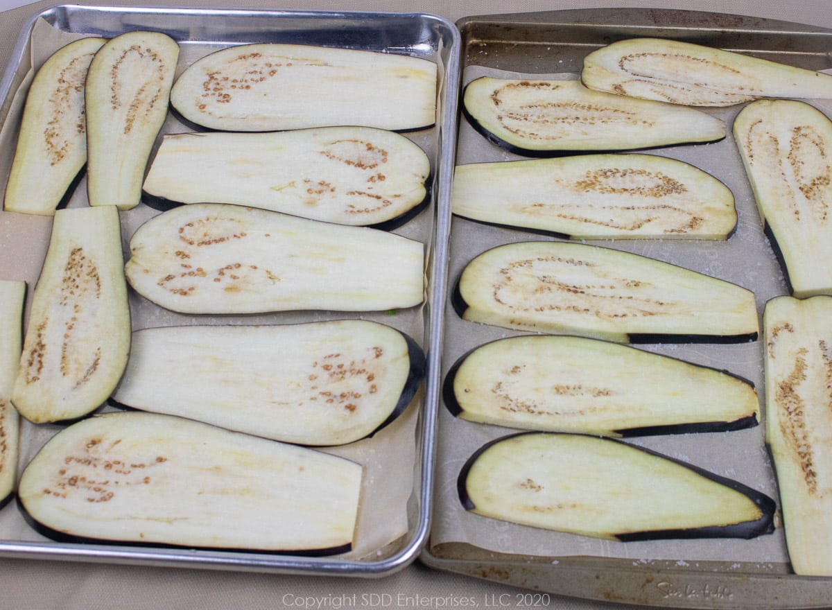 eggplant slices on a baking sheet