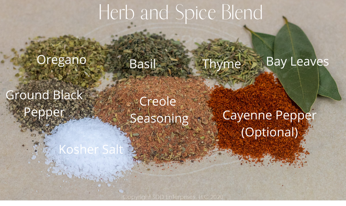 herbs and spices for crawfish eggplant rollatini