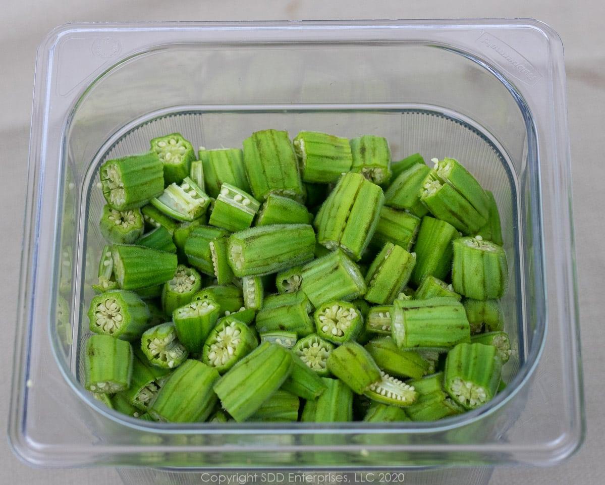 sliced okra in a prep bowl
