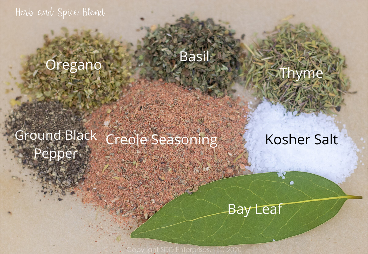 herbs and spices on parchment paper with graphics