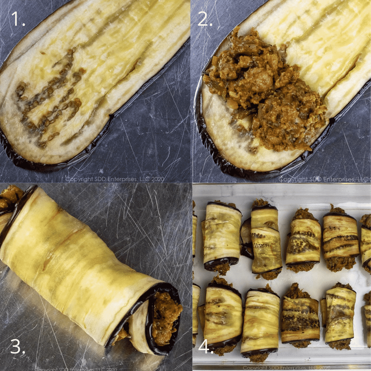 four steps to rolling crawfish filling in eggplant slices