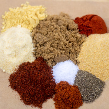 ingredients for dry Cajun rub laid out before mixing
