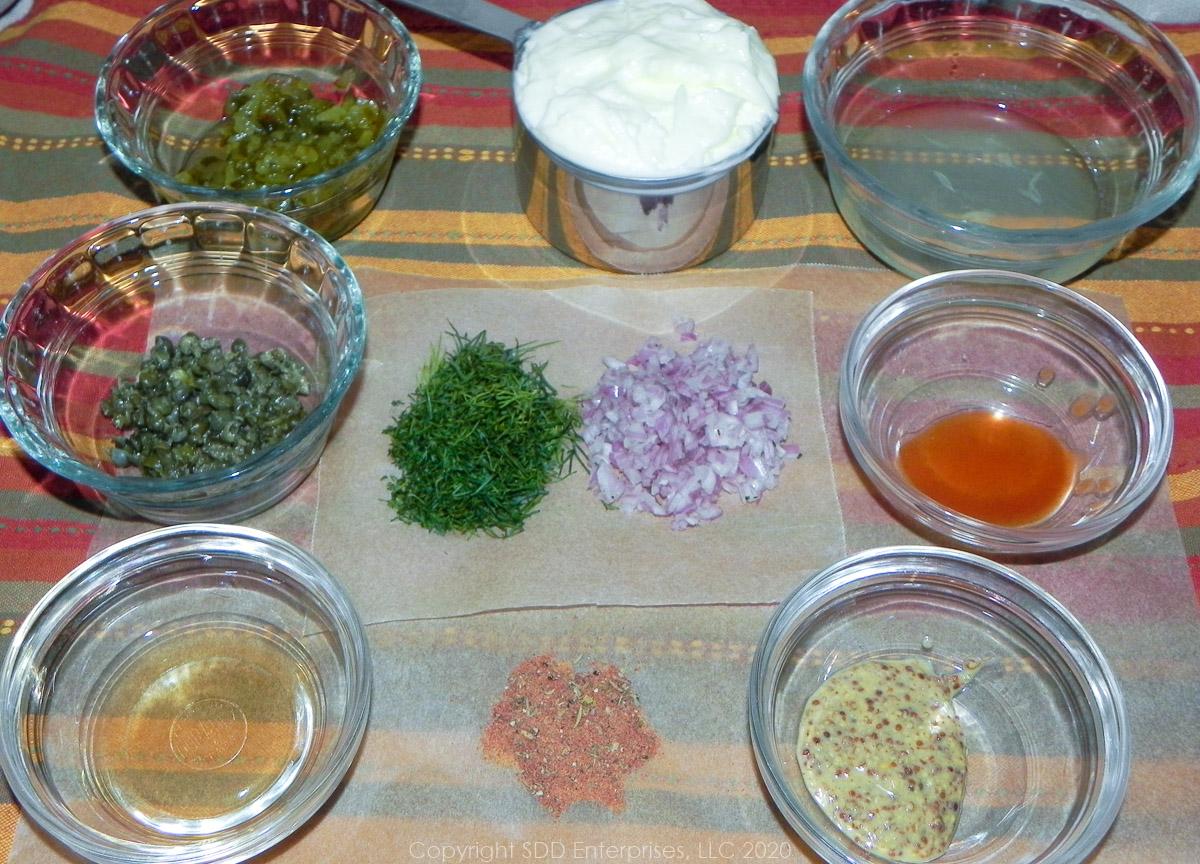 prepared ingredients for creole tartar sauce