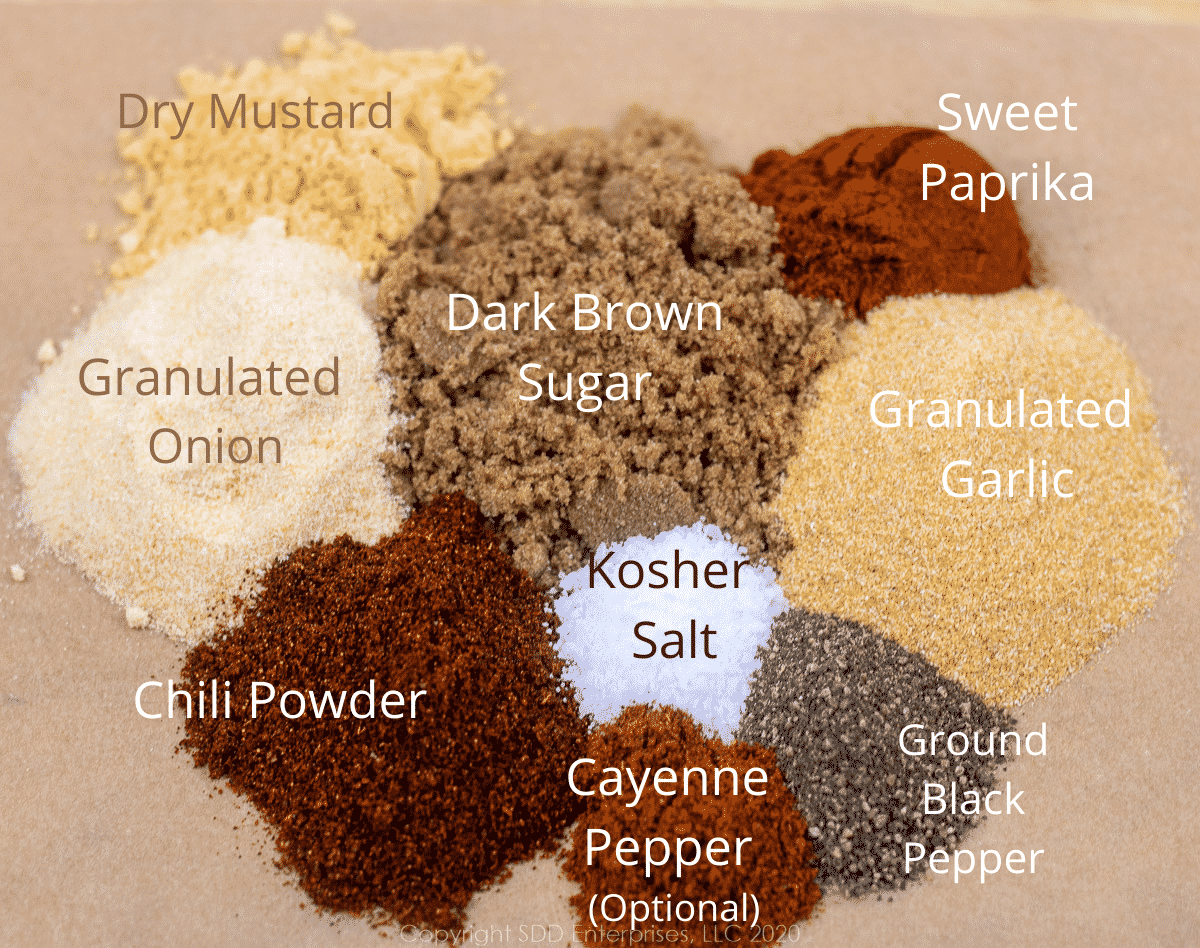 ingredients for dry Cajun rub with labels