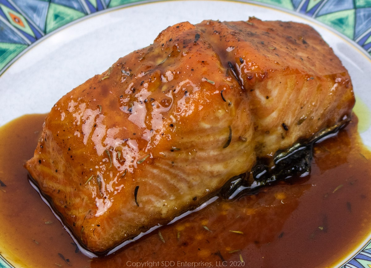 salmon with cane syrup sauce