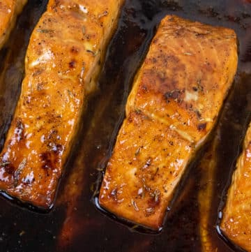 baked salmon with cane syrup sauce
