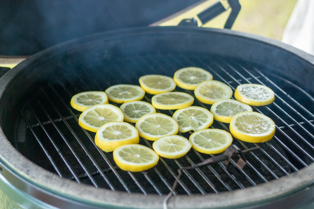 lemon slices set on a grill