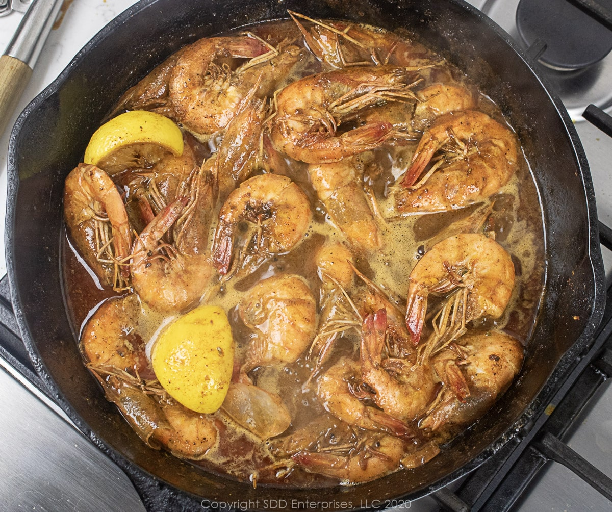 barbecued shrimp in a cast iron skillet