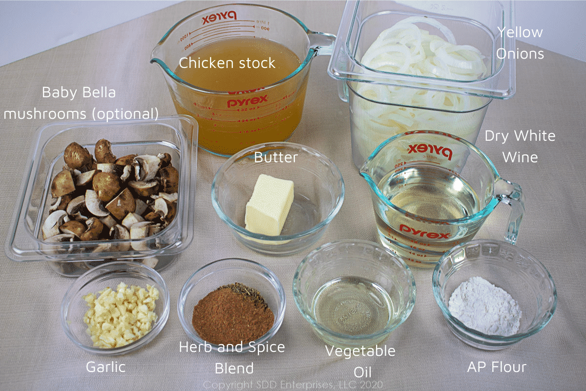 individual ingredients for smothered pork chops in prep bowls