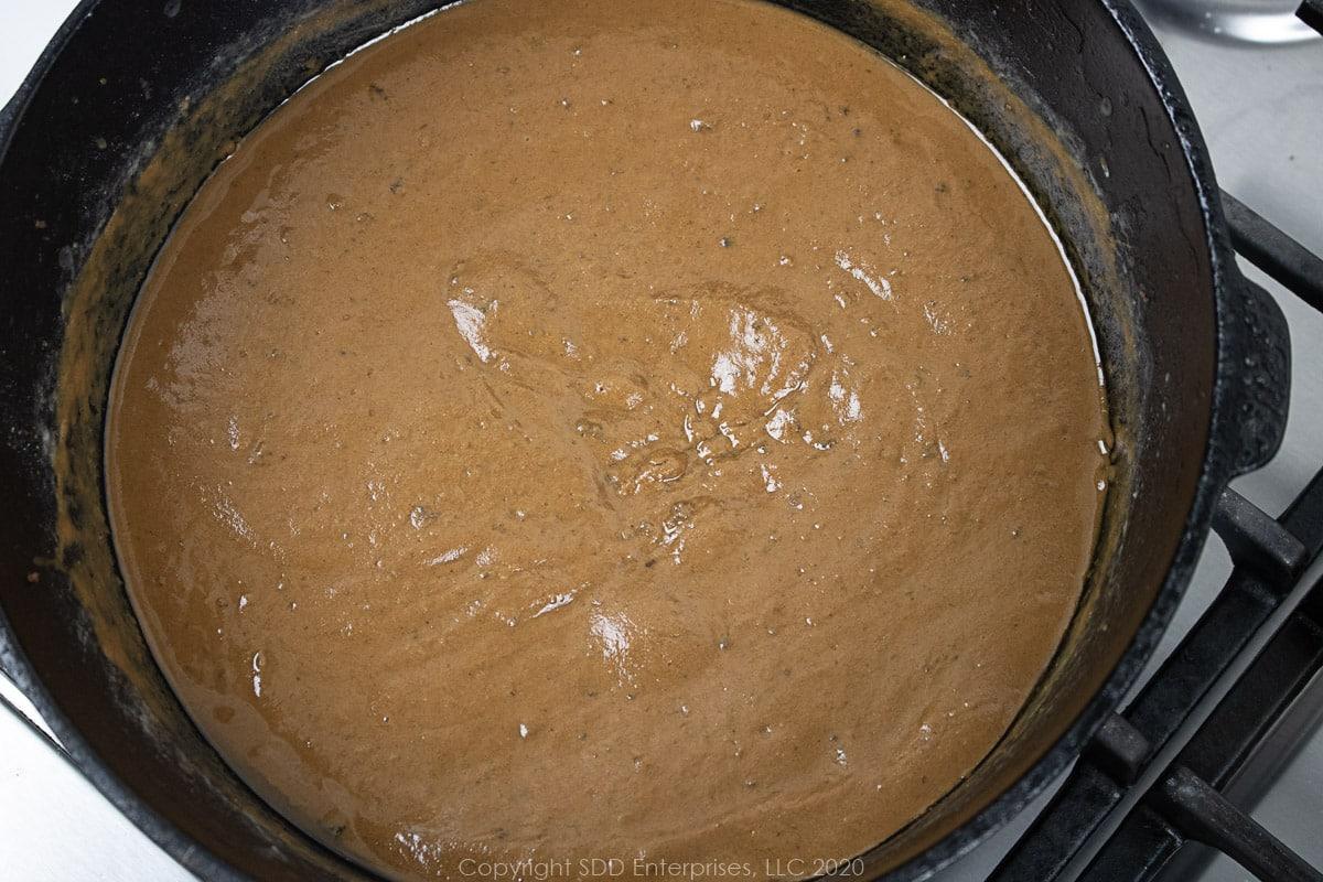 dark roux in a dutch oven