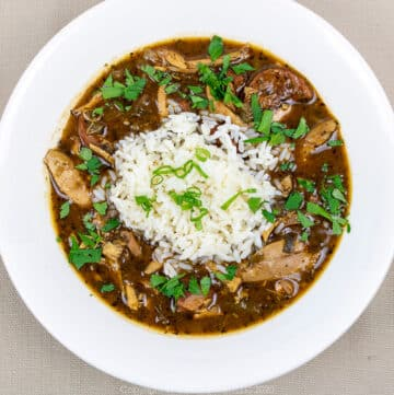 chicken and andouille gumbo with rice and garnish in a white bowl