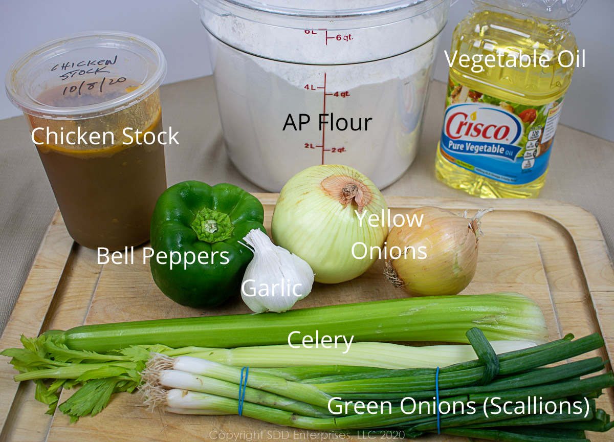 ingredients for chicken and andouille gumbo