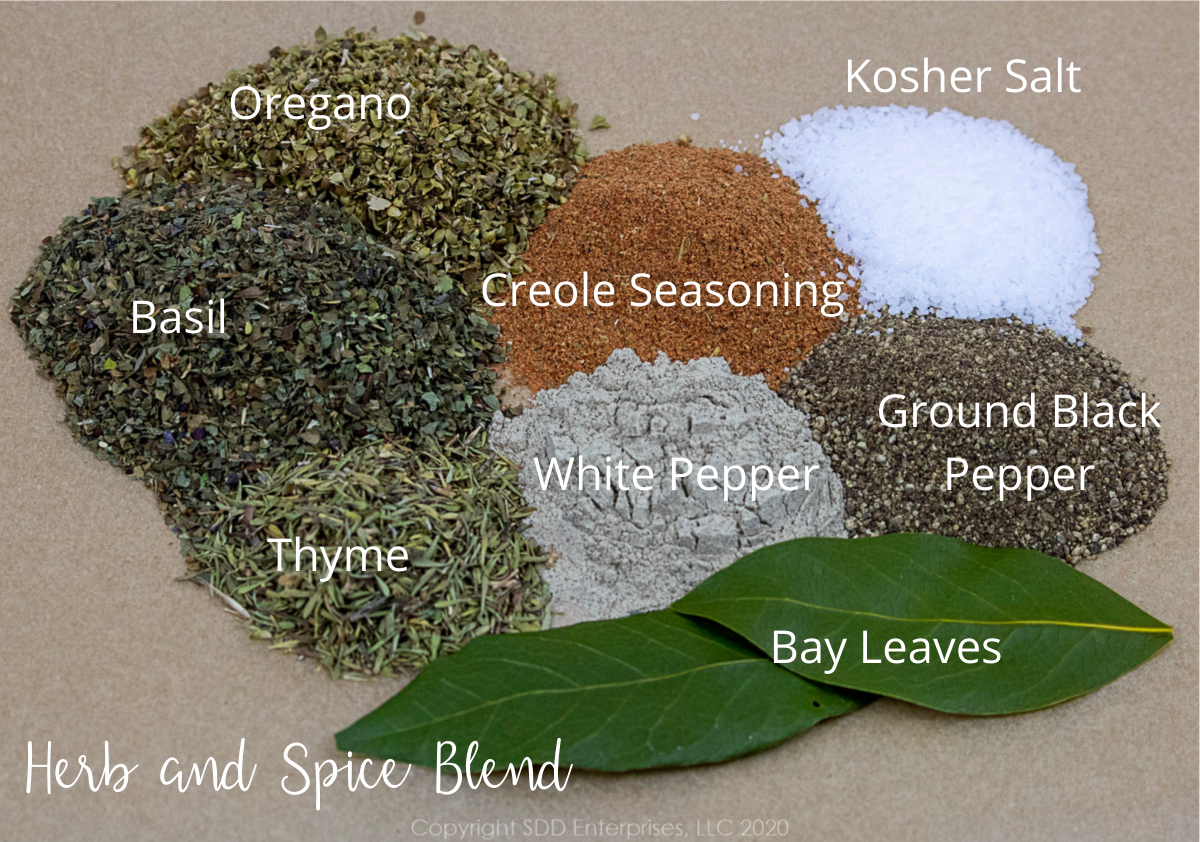 herbs and spices for chicken and andouille gumbo