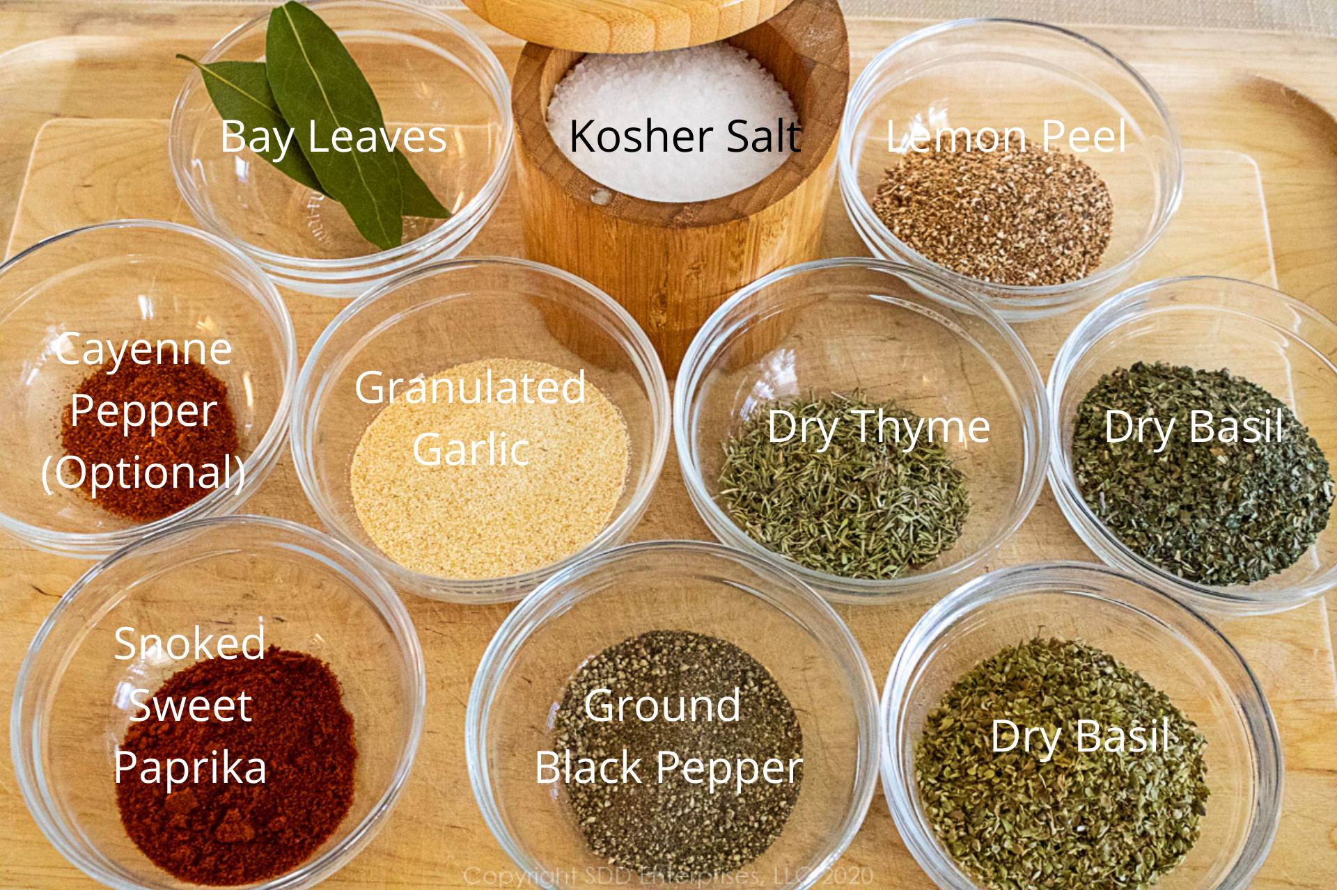 ingredients for dry brine in individual prep bowls