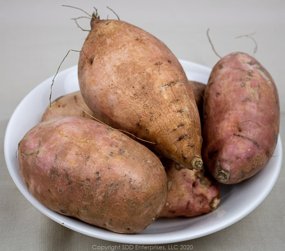 louisiana sweet potatoes in a white bowl