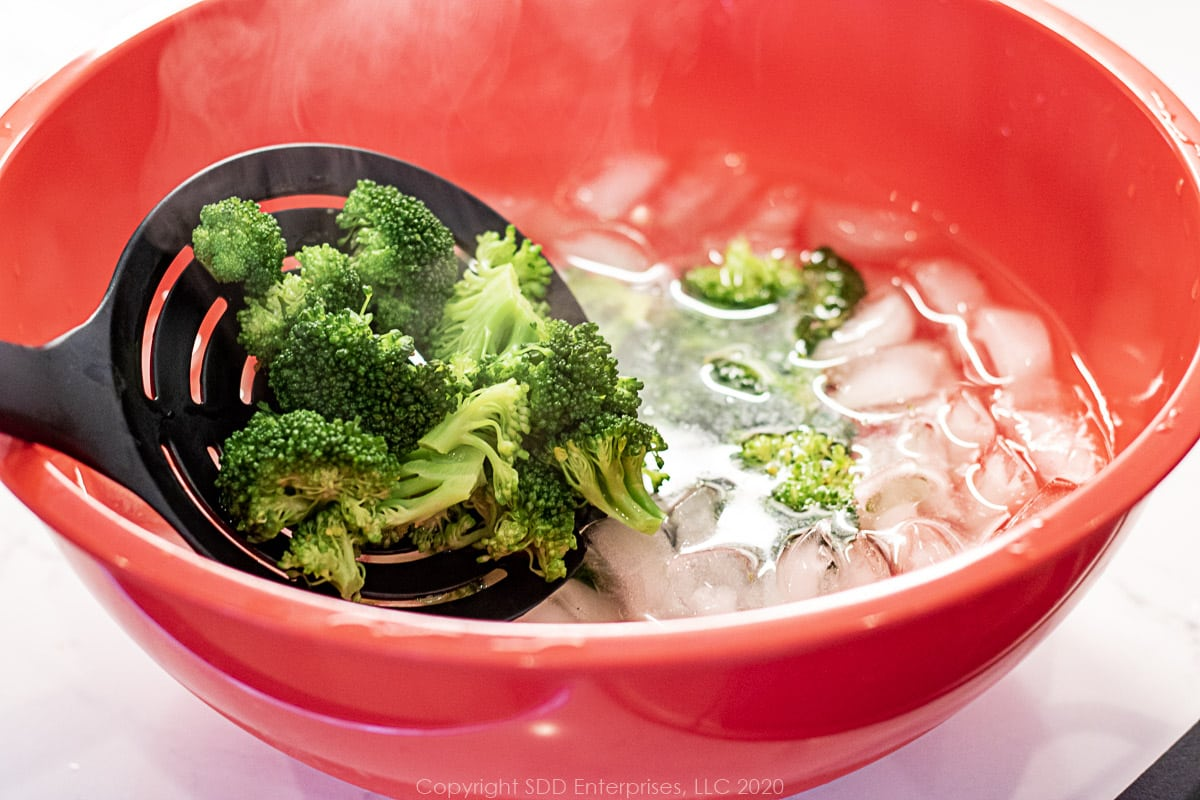 placing broccoli florets into an ice bath