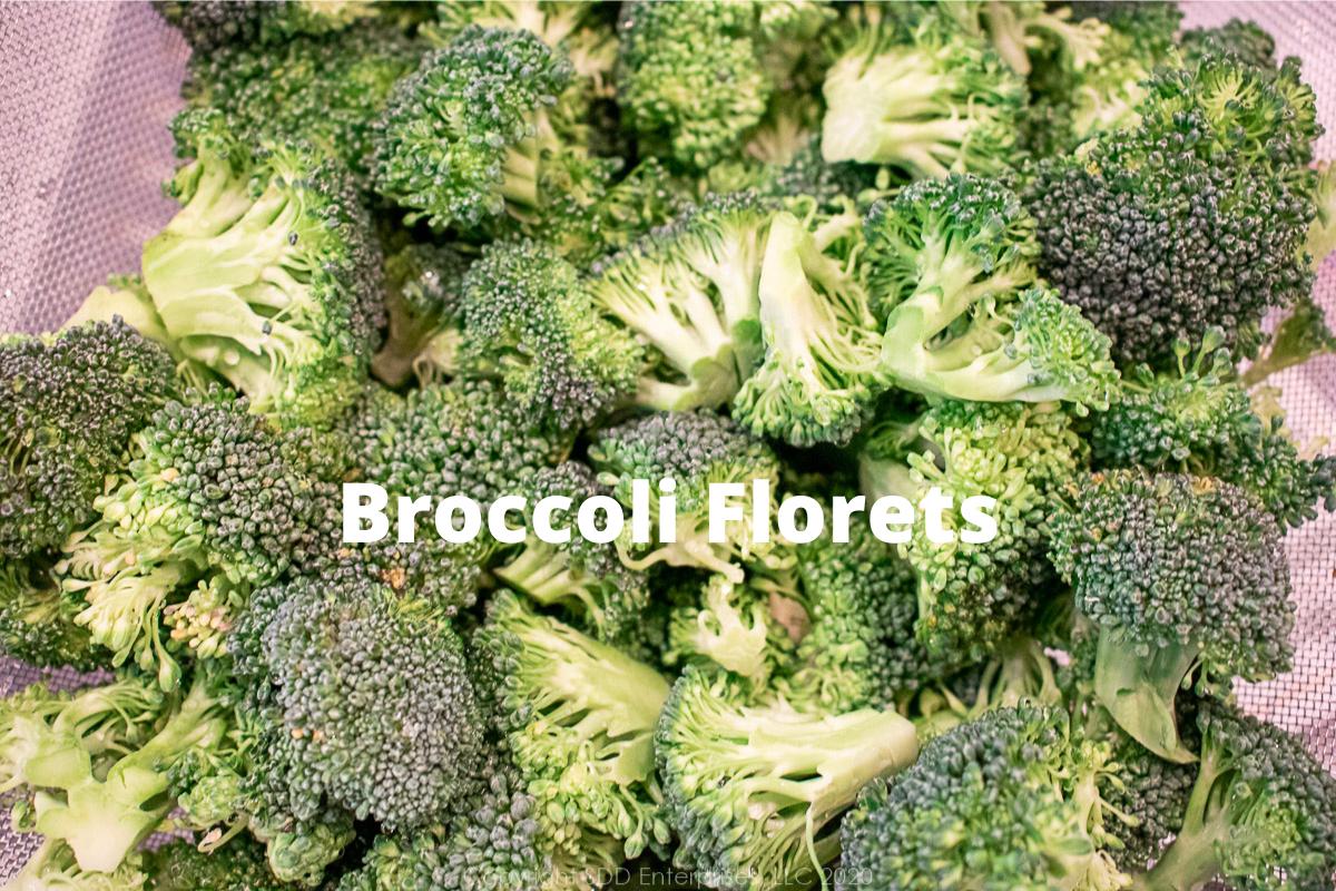 broccoli florets in a colander