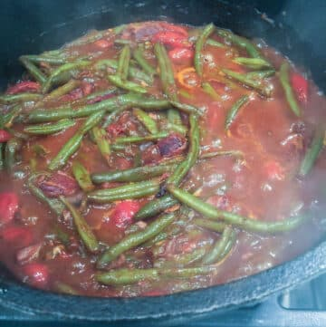 creole green beans in a Dutch oven