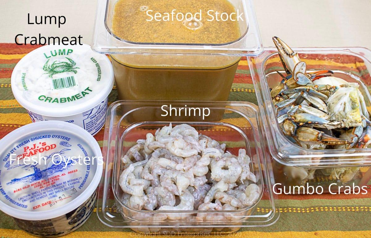 seafood and stock for seafood gumbo