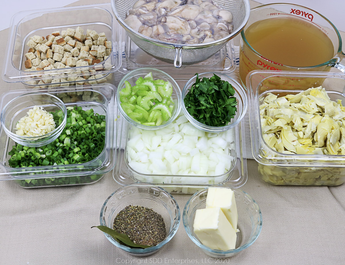 prepared ingredients for oyster artichoke dressing