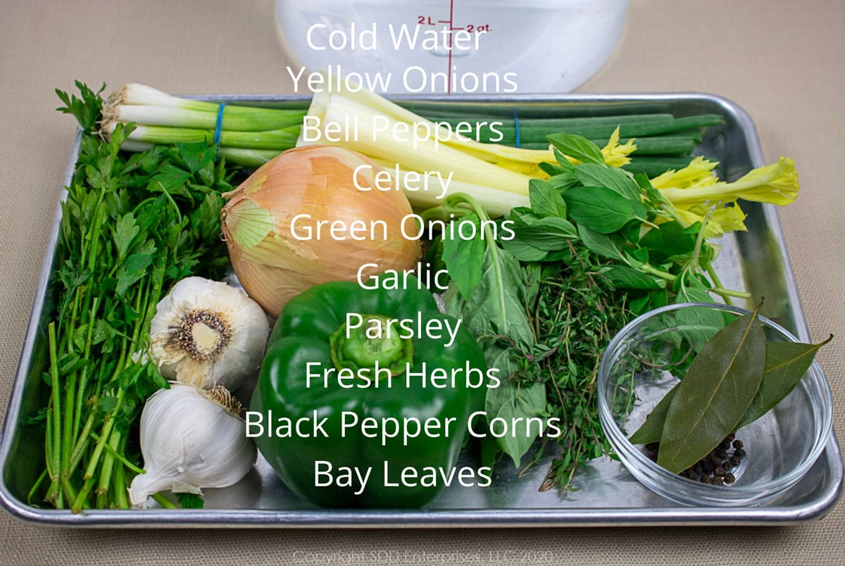vegetable ingredients for stock