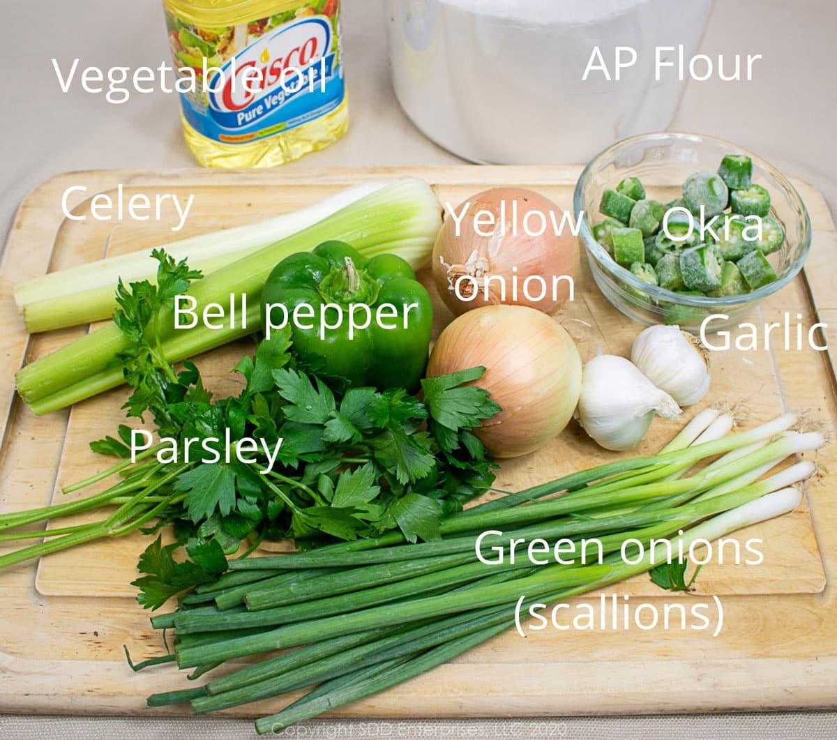 vegetable ingredients for seafood gumbo