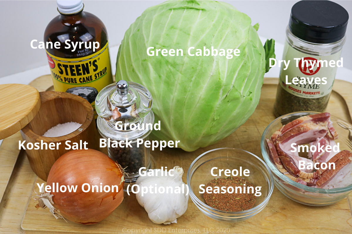 ingredients for fried cabbage