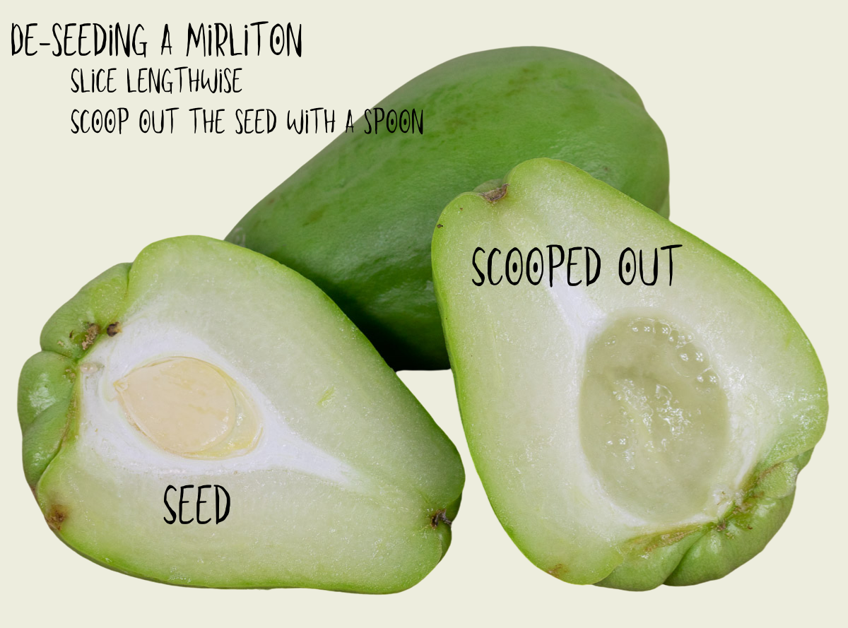 whole mirliton and sliced and deseeded mirliton