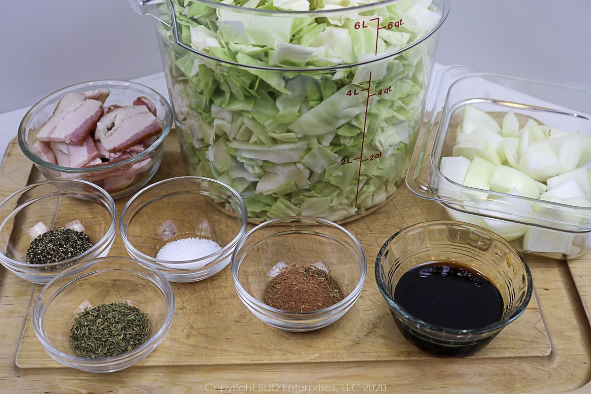 ingredienst prepared for fried cabbage with cane syrup