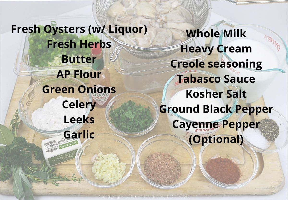 Listed ingredients for oyster soup superimposed over a picture of the ingredients
