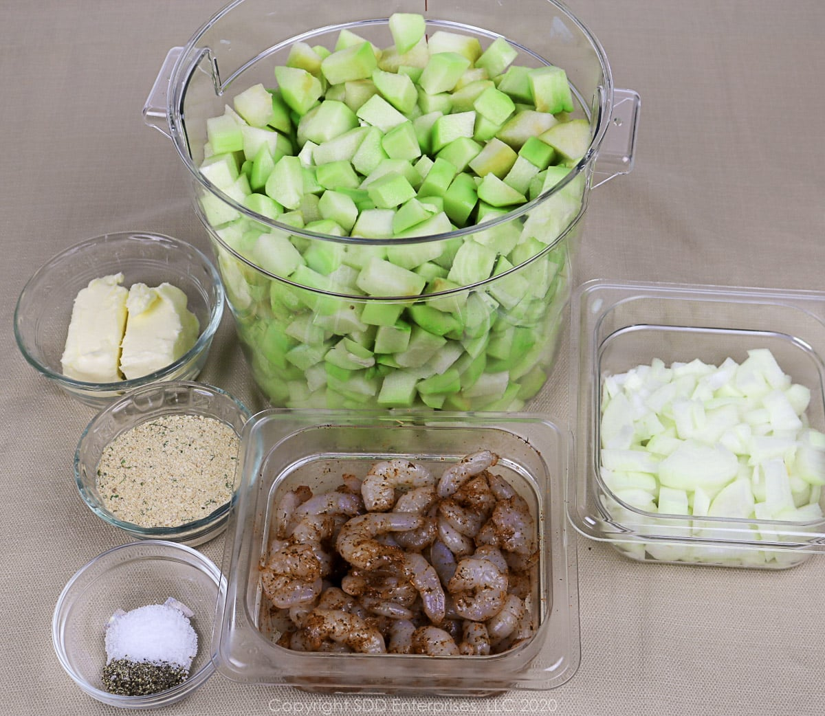 prepared ingredients for mirliton casserole with shrimp