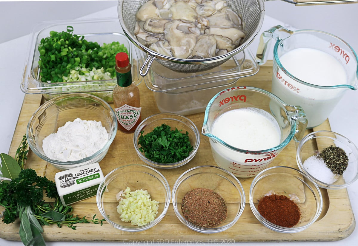 prepared ingredients for oyster soup