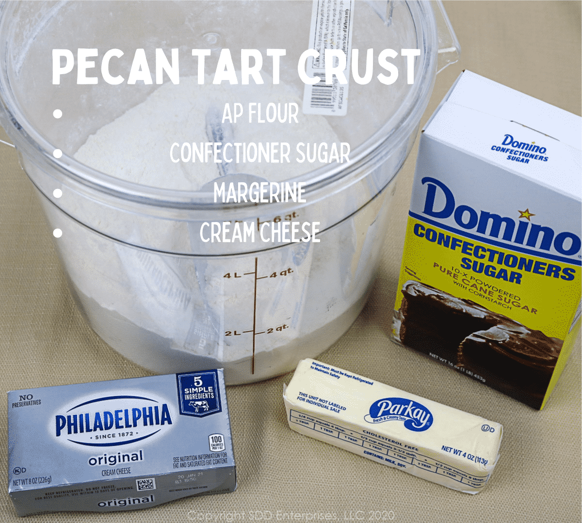 ingredients for pecan tart crust