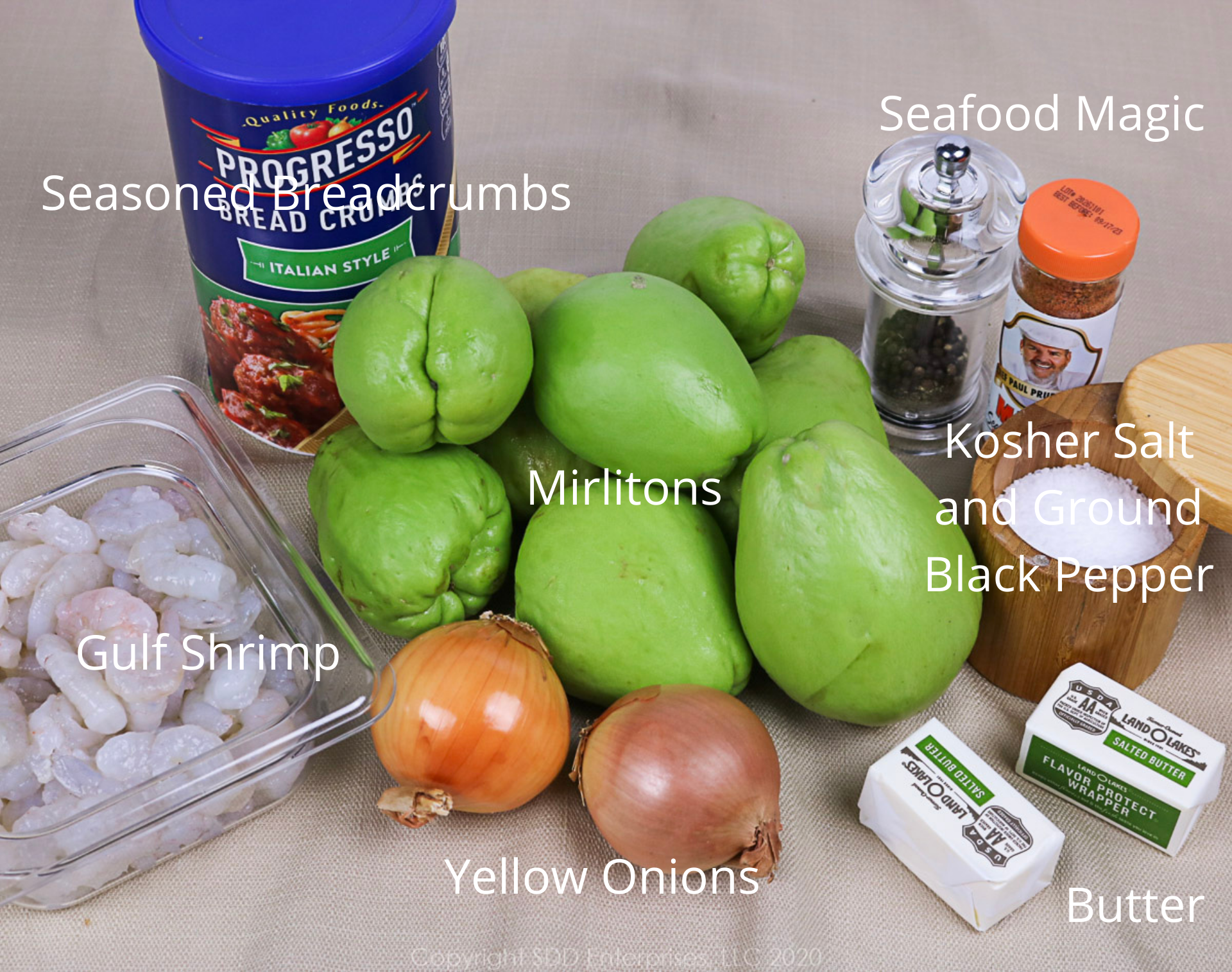 ingredients for mirliton casserole with shrimp