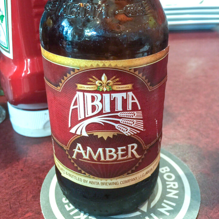 bottle of abita amber beer on a coaster