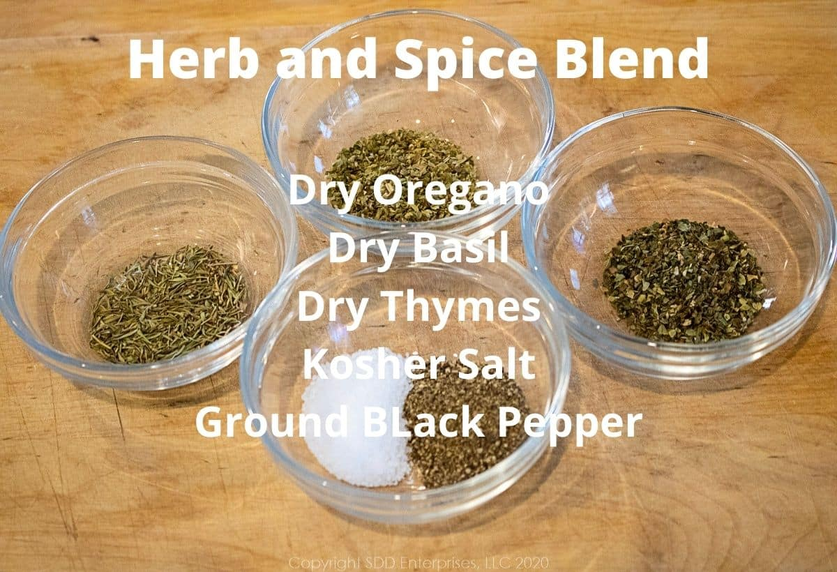 herbs for meatloaf in small individual prep bowl