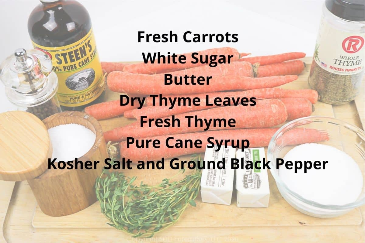 ingredients for roasted carrots with cane syrup