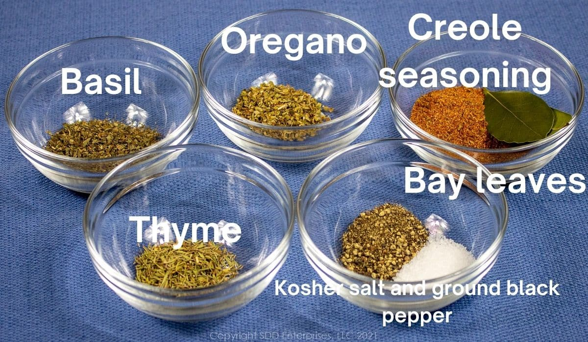 dry hers and seasonings in small prep bowls