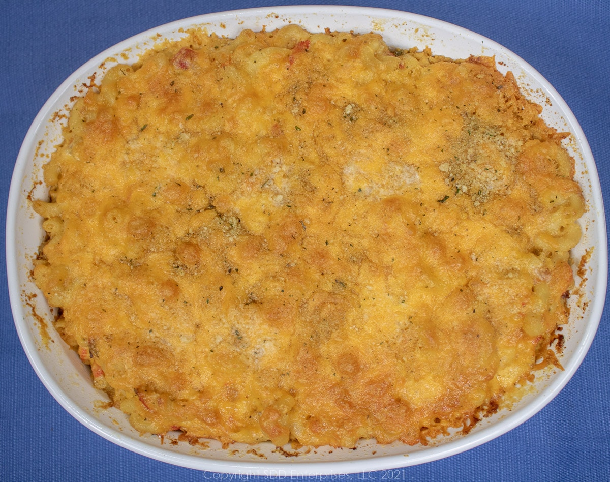 crawfish macaroni and cheese right from the oven