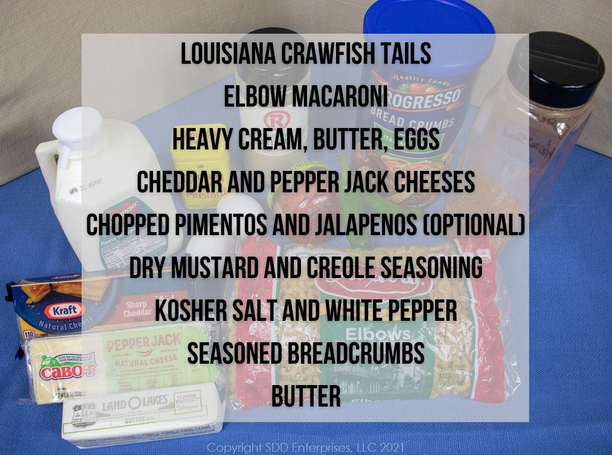 Ingredients for crawfish mac and cheese