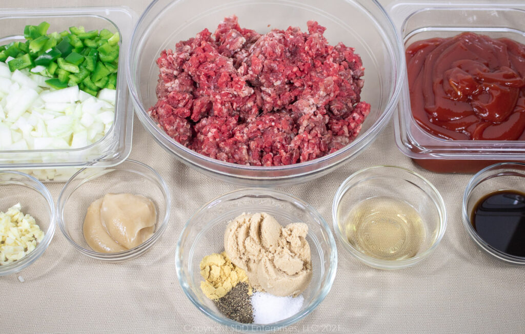 ingredients for Sloppy Joes laid out in prep bowls