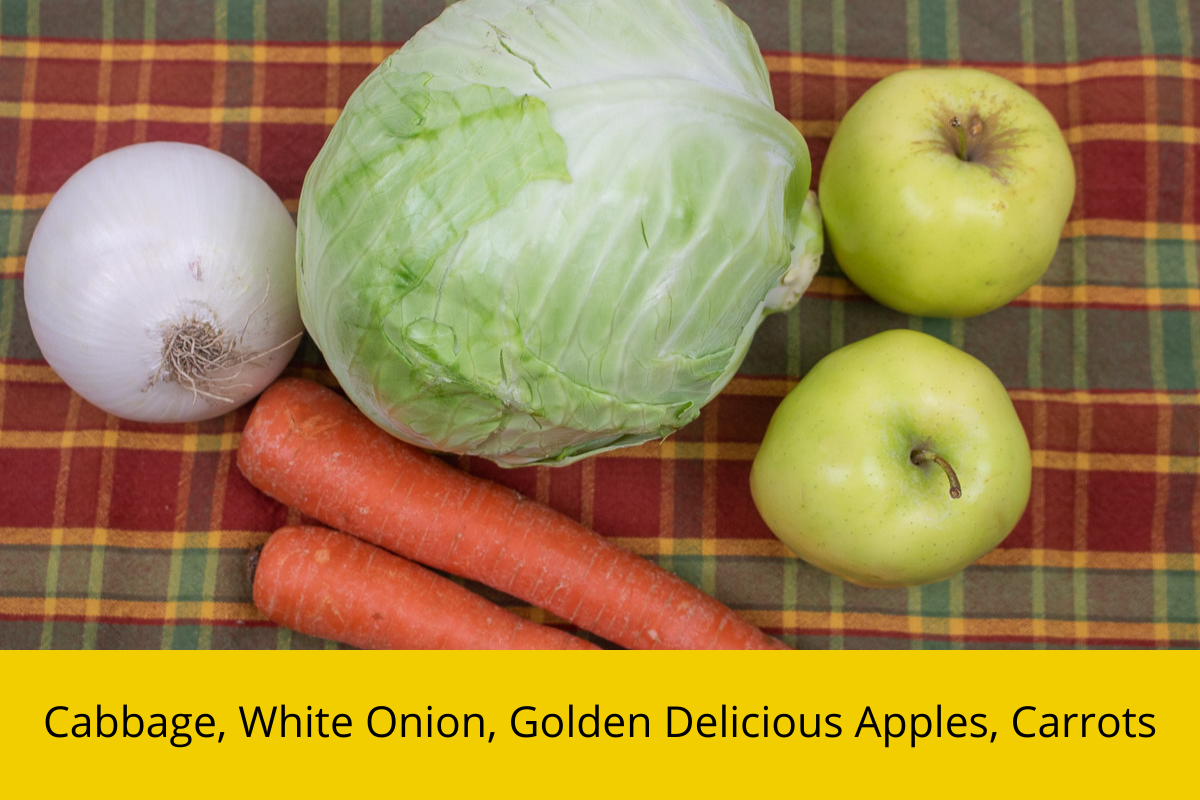 cabbage, onion, carrots and apples for coleslaw