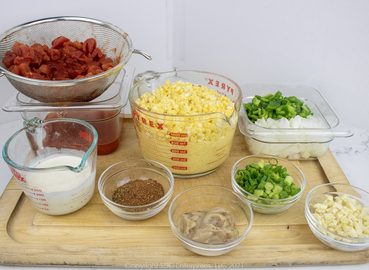 prepared ingredients for corn maque choux