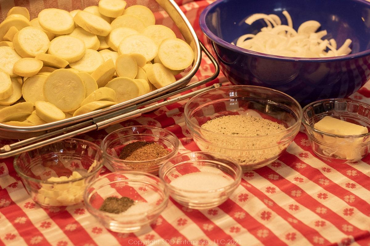 prepared ingredients for squash casserole