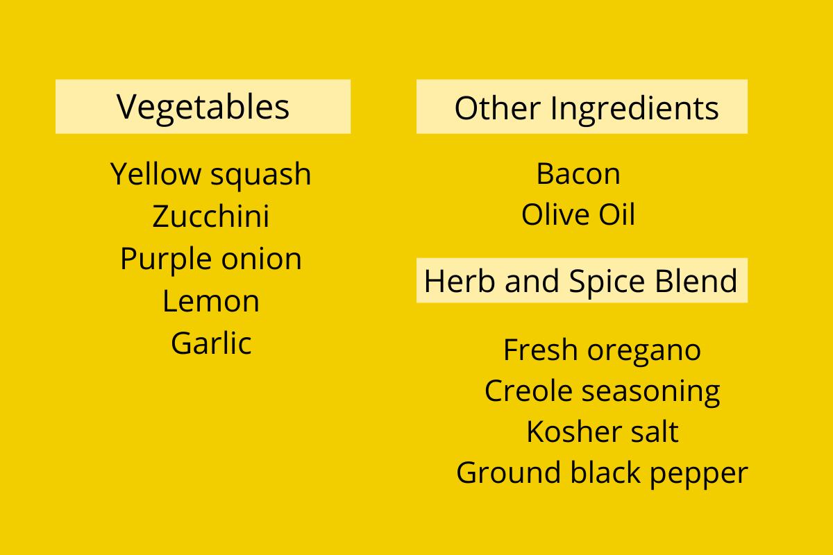 ingredient list for sautéed squash